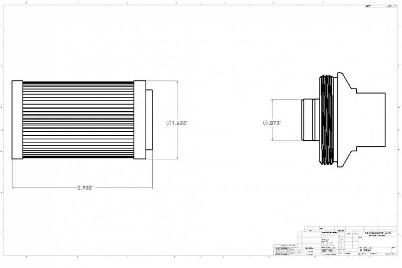 Fits 12340//12350 10 Micron Microglass Aeromotive Filter Element