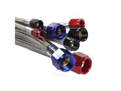 "Nitrous Outlet - Nitrous Outlet 00-21160 -  24"" 8AN Stainless Braided Hose (Red Fittings)"
