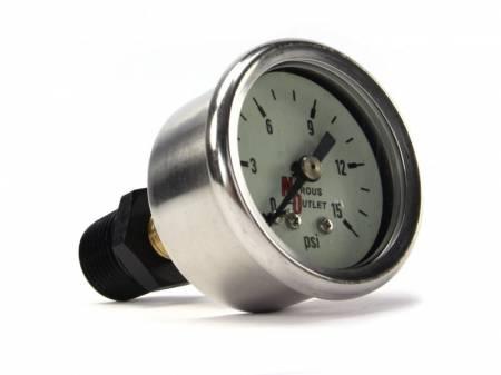 """Nitrous Outlet - Nitrous Outlet 00-63003-B -  Fuel Pressure Gauge & 3/8"""" NPT-1/8"""" NPT Bushing (0-15psi)"""