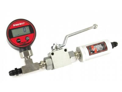 Nitrous Outlet - Nitrous Outlet 00-63017-4 -  Digital Inline Nitrous Pressure Gauge, Shut Off Valve, and Nitrous Filter for 4AN Main feed lines