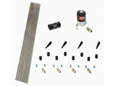 Nitrous Outlet - Nitrous Outlet 00-10350 -  Dry EFI 4 Cylinder 1 Solenoids Forward Plumbers Kit With Distribution Block and 90? Discharge Nozzle's. (.122 Nitrous Solenoid)