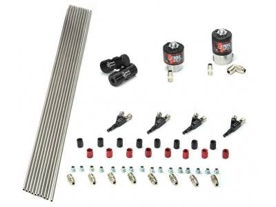 Nitrous Outlet - Nitrous Outlet 00-10352 -  4 Cylinder 2 Solenoids forward Plumbers Kit With Distribution Blocks and 90? Discharge Nozzle's. (.122 Nitrous Solenoid and .177 Fuel Solenoid)