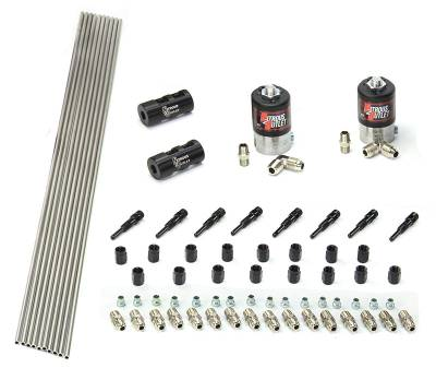 Nitrous Outlet - Nitrous Outlet 00-10350-SBT-DS -  Dry EFI  Dual Stage 4 Cylinder 2 Solenoids Forward Plumbers Kit With Distribution Blocks and SBT Wet Discharge Nozzle's. (.122 Nitrous Solenoids)