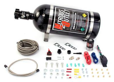 Nitrous Outlet - Nitrous Outlet 00-10200-15 -  Universal EFI Dry Single Nozzle System (35-200HP) (15lb Bottle)