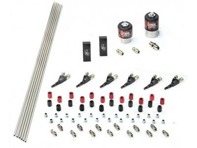 Nitrous Outlet - Nitrous Outlet 00-10385 -  6 Cylinder 2 Solenoids forward Plumbers Kit With Distribution Blocks and 90? Discharge Nozzle's.(.122 Nitrous Solenoid and .177 Fuel Solenoid)