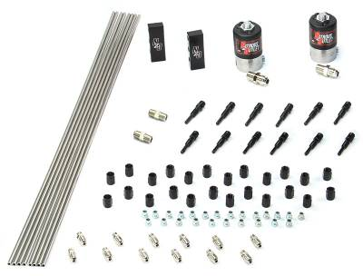 Nitrous Outlet - Nitrous Outlet 00-10383-SBT-DS -  Dry EFI  Dual Stage 6 Cylinder 2 Solenoids Forward Plumbers Kit With Distribution Blocks and SBT Discharge Nozzle's.(.122 Nitrous Solenoids)