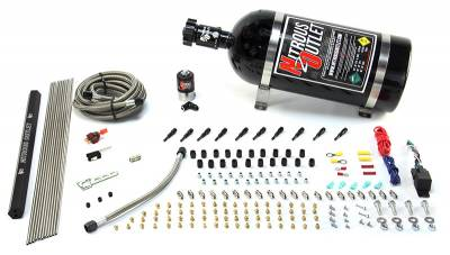 Nitrous Outlet - Nitrous Outlet 00-10493-R-SBT-10 -  10 Cylinder 1 Solenoid Dry EFI Direct Port System With Single Rail (10Lb Bottle) (125-375HP) (SBT Nozzles) (.122 Nitrous Solenoid)