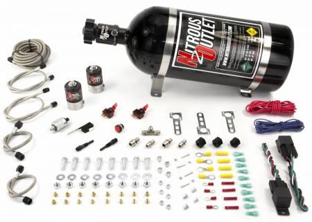Nitrous Outlet - Nitrous Outlet 00-10251-15 -  Universal Diesel Dual Stage Single Nozzle Dry System (35-200HP) (15lb Bottle)