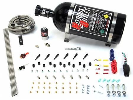 Nitrous Outlet - Nitrous Outlet 00-10396-10 -  Dry EFI 6 Cylinder 1 Solenoids Direct Port System With Distribution Block (75-375HP) (10Lb Bottle) (90? Nozzle's) (.122 Nitrous Solenoid)