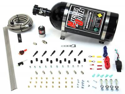 Nitrous Outlet - Nitrous Outlet 00-10396-SBT-10 -  Dry EFI 6 Cylinder 1 Solenoids Direct Port System With Distribution Block (75-375HP) (10Lb Bottle) (SBT Nozzle's) (.122 Nitrous Solenoid)
