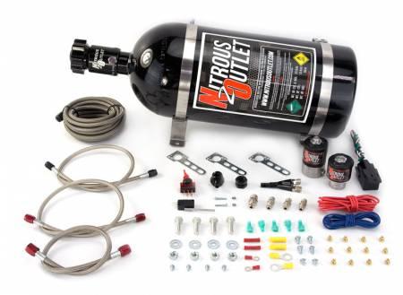 Nitrous Outlet - Nitrous Outlet 00-10040-15 -  Universal EFI Single Nozzle System (35-200HP) (15lb Bottle)