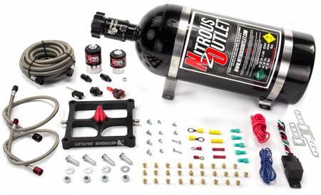 Nitrous Outlet - Nitrous Outlet 00-10650-10 -  4500 Stinger Braided Hose Plate System (50-400hp) (5,7,10psi) (10LB Bottle)