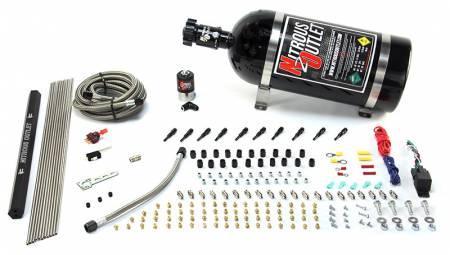 Nitrous Outlet - Nitrous Outlet 00-10493-R-15 -  10 Cylinder 1 Solenoid Dry EFI Direct Port System With Single Rail (15Lb Bottle) (125-375HP) (90? Nozzles) (.122 Nitrous Solenoid)