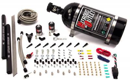 Nitrous Outlet - Nitrous Outlet 00-10471-H-R-00 -  Dry EFI 8 Cylinder 2 Solenoids Direct Port System With Dual Rails (No Bottle) (100-400HP) (90? Nozzle's) (.122 Nitrous Solenoid)