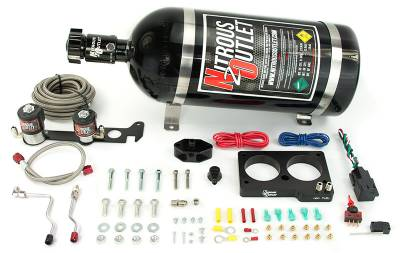 Nitrous Outlet - Nitrous Outlet 00-10157-10 -  99-01 Cobra, 03-04 Mach 1 Ford 4 Valve Hard-Lined Plate System (50-200HP) (10Lb Bottle)