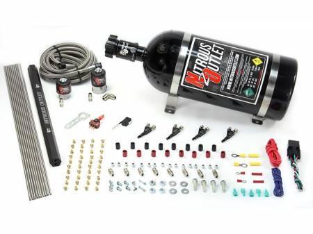 Nitrous Outlet - Nitrous Outlet 00-10362-E85-R-10 -  4 Cylinder 2 Solenoids Direct Port System With Single Rail (E85) (5-7-10 PSI) (50-250HP) (10Lb Bottle) (90? Nozzle's) (.122 Nitrous Solenoid and .177 Fuel Solenoid)