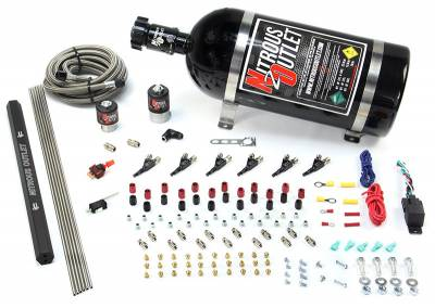 Nitrous Outlet - Nitrous Outlet 00-10398-R-00 -  6 Cylinder 2 Solenoids Direct Port System With Single Rail (5-7-10 PSI) (75-375HP) (No Bottle) (90? Nozzle's) (.122 Nitrous Solenoid and .177 Fuel Solenoid)