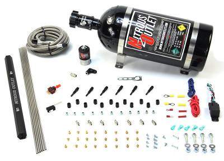 Nitrous Outlet - Nitrous Outlet 00-10397-15 -  Dry EFI 6 Cylinder 1 Solenoids Direct Port System With Single Rail (75-375HP) (15Lb Bottle) (90? Nozzle's) (.122 Nitrous Solenoid)