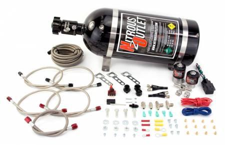 Nitrous Outlet - Nitrous Outlet 00-10042-15 -  Universal EFI Dual Nozzle System (35-200HP) (15lb Bottle)