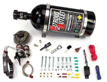 Nitrous Outlet - Nitrous Outlet 00-10145-15 -  11+ Mustang GT/ F-150 5.0 Hardline Plate System (50-200HP) (15lb Bottle)