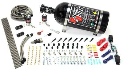 Nitrous Outlet - Nitrous Outlet 00-10360-SBT-DS-15 -  Dry EFI Dual Stage 4 Cylinder 2 Solenoids Direct Port System With Distribution Blocks (50-250HP) (15Lb Bottle) (SBT Nozzle's) (.122 Nitrous Solenoids)
