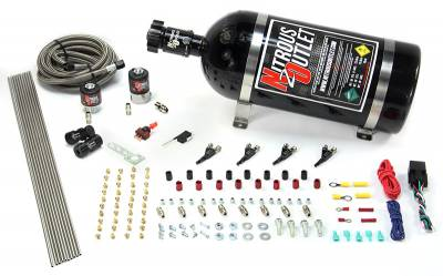 Nitrous Outlet - Nitrous Outlet 00-10362-15 -  4 Cylinder 2 Solenoids Direct Port System With Distribution Blocks (5-7-10 PSI) (50-250HP) (15Lb Bottle) (90? Nozzle's) (.122 Nitrous Solenoid and .177 Fuel Solenoid)