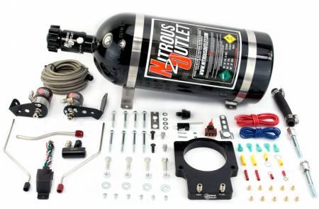 Nitrous Outlet - Nitrous Outlet 00-10122-90-15 -  90mm Fast Intake 97-04 Corvette Hardline Plate System (50-200HP) (15lb Bottle)