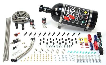 Nitrous Outlet - Nitrous Outlet 00-10396-SBT-DS-10 -  Dry EFI Dual Stage 6 Cylinder 2 Solenoids Direct Port System With Distribution Blocks (75-375HP) (10Lb Bottle) (SBT Nozzle's) (.122 Nitrous Solenoids)