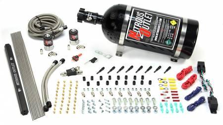 Nitrous Outlet - Nitrous Outlet 00-10361-SBT-DS-15 -  Dry EFI Dual Stage 4 Cylinder 2 Solenoids Direct Port System With Single Rail (50-250HP) (15Lb Bottle) (SBT Nozzle's) (.122 Nitrous Solenoids)