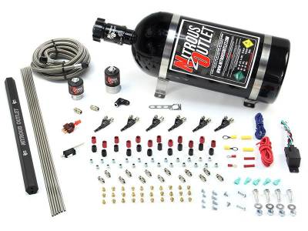 Nitrous Outlet - Nitrous Outlet 00-10398-E85-R-10 -  6 Cylinder 2 Solenoids Direct Port System With Single Rail (E85) (5-7-10 PSI) (75-375HP) (10Lb Bottle) (90? Nozzle's) (.122 Nitrous Solenoid and .177 Fuel Solenoid)