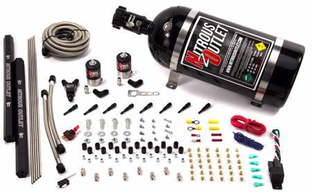 Nitrous Outlet - Nitrous Outlet 00-10471-H-R-15 -  Dry EFI 8 Cylinder 2 Solenoids Direct Port System With Dual Rails (15Lb Bottle) (100-400HP) (90? Nozzle's) (.122 Nitrous Solenoid)