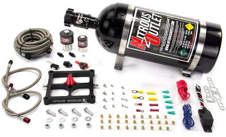Nitrous Outlet - Nitrous Outlet 00-10652-10 -  Race 4500 Stinger Braided Hose Plate System (50-500hp) (5,7,10psi) (10LB Bottle)