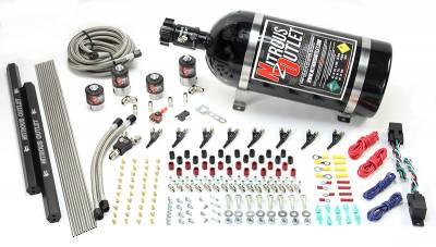 Nitrous Outlet - Nitrous Outlet 00-10362-R-DS-00 -  Dual Stage 4 Cylinder 4 Solenoids Direct Port System With Dual Rails (5-7-10 PSI) (50-250HP) (No Bottle) (90? Nozzle's) (.122 Nitrous Solenoid and .177 Fuel Solenoid)