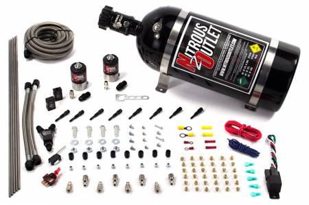 Nitrous Outlet - Nitrous Outlet 00-10432-T-10 -  Dry EFI 8 Cylinder 2 Solenoid Racers Option Direct Port System (100-400HP) (10LB Bottle) (90? Nozzle's) (.178 Trashcan Nitrous Solenoids)