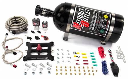 Nitrous Outlet - Nitrous Outlet 00-10602-15 -  Race 4150 Stinger Braided Hose Plate System (50-600hp) (5-7-10psi) (15LB Bottle)
