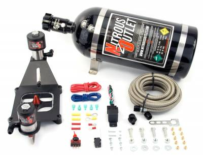 Nitrous Outlet - Nitrous Outlet 00-10612-10 -  Race 4150 Stinger Plate System, With Deep EFI Center Solenoid Bracket, Solenoids Flip Upside Down (50-600hp) (5-7-10psi) (10LB Bottle)