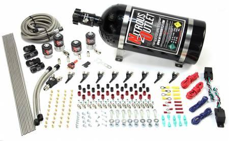 Nitrous Outlet - Nitrous Outlet 00-10362-E85-DS-15 -  Dual Stage 4 Cylinder 4 Solenoids Direct Port System With Distribution Blocks (E85) (5-7-10 PSI) (50-250HP) (15Lb Bottle) (90? Nozzle's) (.122 Nitrous Solenoids and .177 Fuel Solenoids)