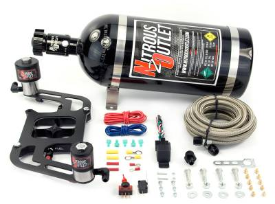 Nitrous Outlet - Nitrous Outlet 00-10606-15 -  Race 4150 Stinger Plate System, With Boomerang 2 Solenoid Bracket (50-600hp) (5-7-10psi) (15LB Bottle)