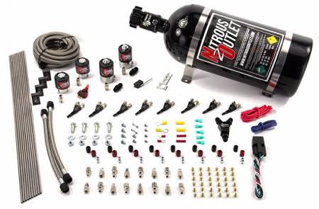 Nitrous Outlet - Nitrous Outlet 00-10433-E85-T-10 -  8 Cylinder 4 Solenoid Racers Option Direct Port System (E85) (5-7-10 PSI) (100-400HP) (10LB Bottle) (90? Nozzles) (.178 Trashcan Nitrous Solenoids and .177 Fuel Solenoids)