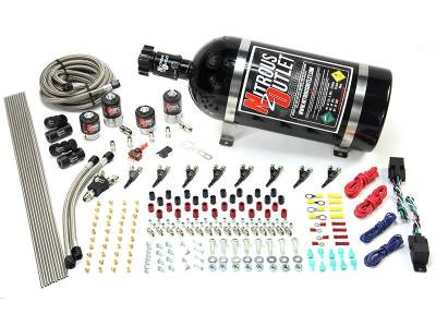 Nitrous Outlet - Nitrous Outlet 00-10362-ALC-DS-15 -  Dual Stage 4 Cylinder 4 Solenoids Direct Port System With Distribution Blocks (ALC) (5-7-10 PSI) (50-250HP) (15Lb Bottle) (90? Nozzle's) (.122 Nitrous Solenoids and .177 Fuel Solenoids)