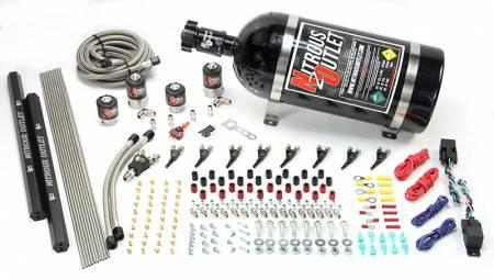 Nitrous Outlet - Nitrous Outlet 00-10362-R-DS-15 -  Dual Stage 4 Cylinder 4 Solenoids Direct Port System With Dual Rails (5-7-10 PSI) (50-250HP) (15Lb Bottle) (90? Nozzle's) (.122 Nitrous Solenoid and .177 Fuel Solenoid)