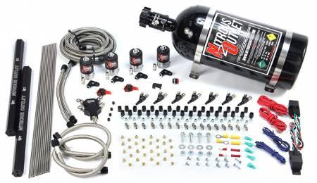 Nitrous Outlet - Nitrous Outlet 00-10471-L-R-SBT-DS-15 -  Dry EFI Dual Stage 8 Cylinder 4 Solenoids Direct Port System With Dual Rails (15Lb Bottle) (100-400HP) (SBT Nozzle's) (.112 Nitrous Solenoids)