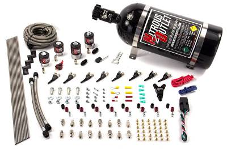 Nitrous Outlet - Nitrous Outlet 00-10433-ALC-T-15 -  8 Cylinder 4 Solenoid Racers Option Direct Port System (ALC) (5-7-10 PSI) (100-400HP) (15LB Bottle) (90? Nozzles) (.178 Trashcan Nitrous Solenoids and .177 Alcohol Solenoids)