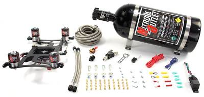 Nitrous Outlet - Nitrous Outlet 00-10626-15 -  4150 Dual Stage Hornet Plate System, With Boomerang 4 Solenoid Bracket (100-800hp) (5,7,10psi) (15LB Bottle)