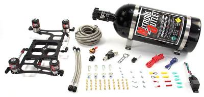 Nitrous Outlet - Nitrous Outlet 00-10638-15 -  4500 Dual Stage Hornet Plate System, With Boomerang 4 Solenoid Bracket (100-800hp) (5,7,10psi) (15Lb Bottle)