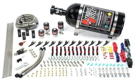 Nitrous Outlet - Nitrous Outlet 00-10398-E85-DS-15 -  Dual Stage 6 Cylinder 4 Solenoids Direct Port System With Distribution Blocks (E85) (5-7-10 PSI) (75-375HP) (15Lb Bottle) (90? Nozzle's) (.122 Nitrous Solenoid and .177 Fuel Solenoid)
