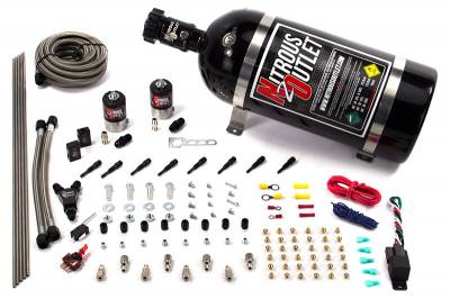 Nitrous Outlet - Nitrous Outlet 00-10432-T-SBT-12 -  Dry EFI 8 Cylinder 2 Solenoid Racers Option Direct Port System (100-400HP) (12LB Bottle) (SBT Nozzle's) (.178 Trashcan Nitrous Solenoids)