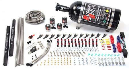 Nitrous Outlet - Nitrous Outlet 00-10398-R-DS-15 -  Dual Stage 6 Cylinder 4 Solenoids Direct Port System With Dual Rails (5-7-10 PSI) (75-375HP) (15Lb Bottle) (90? Nozzle's) (.122 Nitrous Solenoids and .177 Fuel Solenoids)