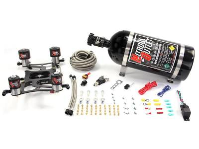 Nitrous Outlet - Nitrous Outlet 00-10628-10 -  Race 4150 Dual Stage Hornet Plate System, With Boomerang 4 Solenoid Bracket (100-800hp) (5,7,10psi) (10LB Bottle)