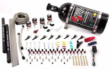 Nitrous Outlet - Nitrous Outlet 00-10474-L-R-12 -  8 Cylinder 4 Solenoids Direct Port System With Dual Rails (5-7-10 PSI) (100-400HP) (12Lb Bottle) (90? Nozzle's) (.112 Nitrous Solenoid and .177 Fuel Solenoid)
